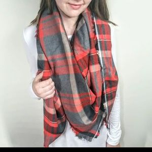Plaid Blanket Scarf Red and Gray